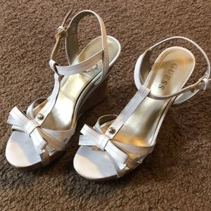 Guess Wedge White Sandals Size 8.5